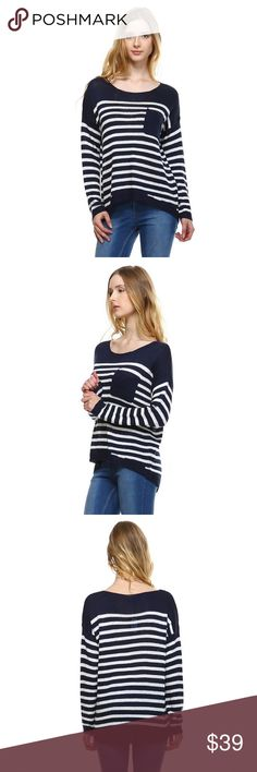 Striped Sweater Knit Top Nautical inspired open knit striped hi-low sweater with pocket and ribbing detail.  Color - Navy/Cream Fate Sweaters Crew & Scoop Necks