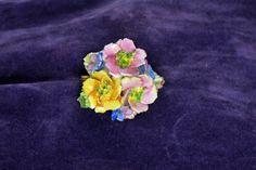 Vintage english bone china flower brooch by OddsOrnaments on Etsy
