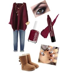 Fall Berry by treppenwits on Polyvore featuring polyvore, beauty, Essie, Tiffany & Co., Alexander Wang and UGG Australia