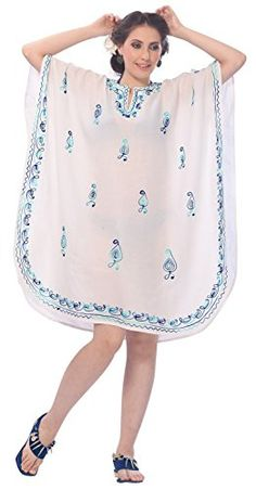 Womens Embroidered Swimwear Beach Dress Dress Caftan White Casuals Plain Valentines Day Gifts 2017 -- Click image for more details.