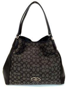 COACH-33523-Edie-Shoulder-Bag-in-Signature-Black-Jacquard-Handbag