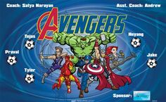 Avengers B54167  digitally printed vinyl soccer sports team banner. Made in the USA and shipped fast by BannersUSA.  You can easily create a similar banner using our Live Designer where you can manipulate ALL of the elements of ANY template.  You can change colors, add/change/remove text and graphics and resize the elements of your design, making it completely your own creation.