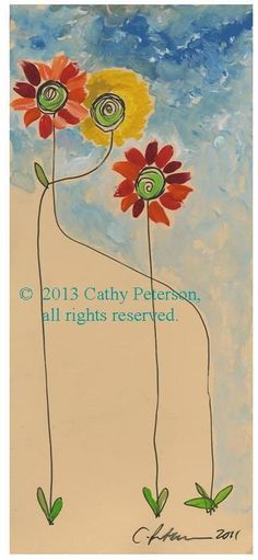 Three Flowers = Pretty Maids all in a Row ORINIAL WATERCOLOR PAINTING print ACEO #moderncontemporaryartinterpretiveimpressionist