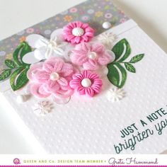 Layered Floral Bouquets! - Queen & Company new 2018 flowers! Greta Hammond, just a note to brighten your day card