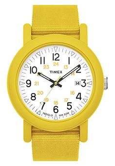 Timex - In Stock! - Striking Timex Originals Camper watch in bright blue, centred on a high-visibility dial with numeral hour markers and date function. Best Kids Watches, Cool Watches, Timex Indiglo, Timex Watches, Baby Kids Clothes, Mellow Yellow, Yellow Sun, Colorful Fashion, Unisex