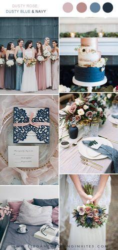 a3c39b57 dusty rose, dusty blue and navy wedding color ideas #weddingcolors  #ElegantWeddingInvites Marine Wedding