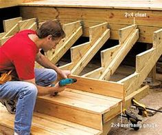 to Build Deep and Wide Deck Stairs Add a decorative touch to the edge of your deck. These easy-to-build stairs are pretty and practical.Add a decorative touch to the edge of your deck. These easy-to-build stairs are pretty and practical.