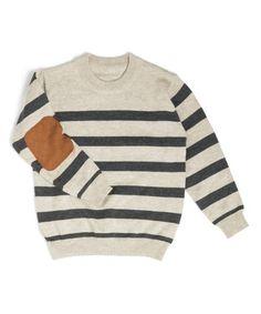 56ece95d10dd Littlest Prince Couture Cream   Charcoal Stripe Elbow-Patch Sweater -  Newborn