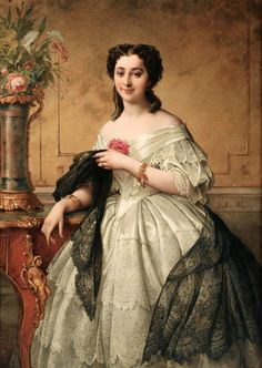 Portrait of a Young Woman with a Lace Shawl Adelaide Salles-Wagner, nee Wagner ca. 1850s.