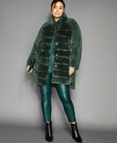 Get your hands on this glamorous plus size shearling lamb coat from The Fur Vault designed with gorgeous rabbit fur at the front. Rabbit Fur Coat, Stocking Tree, Tree Skirts, Coats For Women, Lamb, Autumn Fashion, Winter Jackets, Glamour, Plus Size