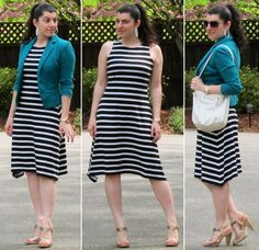 I love the stripes, asymmetry, teal jacket, and  metallic shoes.