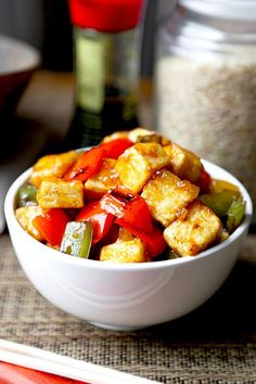 Sweet and Sour Tofu - This sweet and sour tofu recipe is a quick and delicious dinner option that's much better than takeout - and is ready in just 20 minutes! Chinese, Vegetarian, Recipe | pickledplum.com