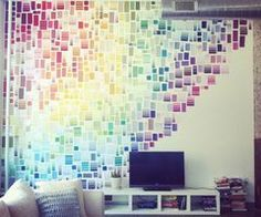 Celebrate your dorm room - with paint swatches! Create a rainbow effect like Liz Apple's rainbow wall of paint chips or use paint swatches to create waves or patterns of color too! What a great way to liven up a room and make it your own! Weekend Projects, Projects To Try, Craft Projects, Sewing Projects, Do It Yourself Inspiration, Inspiration Wall, Furniture Inspiration, Diy Casa, Paint Swatches