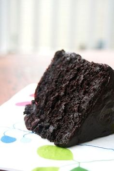 Double Chocolate Cake with Black Velvet Icing The Best Chocolate Cake, Lake Champlain Fair Trade Cocoa Chocolate Glaze Recipes, Chocolate Desserts, Chocolate Lovers, Just Desserts, Delicious Desserts, Dessert Recipes, Brownie Recipes, Lemon Desserts, Food Cakes