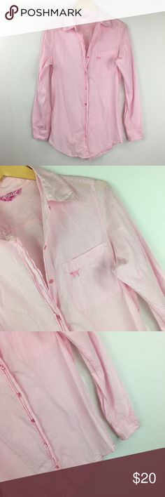 Victoria secret pink and white top Excellent condition. No flaws. Size xs. Victoria's Secret Tops Button Down Shirts