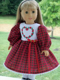 American Girl Christmas Dress/ Doll Clothes for American Girl Dolls / Big Sister Dress Doll Clothes Patterns, Clothing Patterns, Red Frock, Girls Christmas Dresses, Wellie Wishers, Flower Girl Dresses, Doll Dresses, Holiday Outfits, Girl Dolls