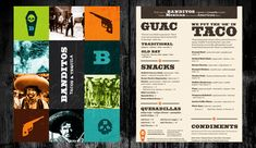 Banditos - love tex mex menus and food Restaurant Identity, Restaurant Menu Design, Layout Inspiration, Graphic Design Inspiration, Take Out Menu, Print Layout, Menu Layout, Branding Design, Logo Design