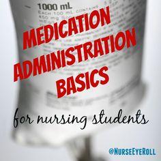 Medication administration basics for nursing students, written by a neuro ICU nurse! Pharmacology Nursing, Icu Nursing, Nursing Career, Nursing Notes, Nursing Diagnosis, Online Nursing Schools, Nursing School Tips, Nursing Tips, Nclex