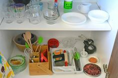 easy access to kitchen cupboard for the kids, so that they can prepare their own snack