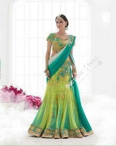 Sarees - Peacock Green, Blue And Golden  Bridal Collections - Resplendent Bridal Designer Wedding Special Collections / Wedding / Party / Special Occasions / Festival - Boutique4India Inc.