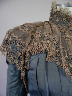 Beautiful 1890's Blue Dress with Lace