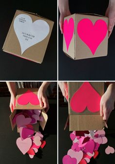 Box of hearts- cute idea for Valentine's Day to put a gift in or even just for a kid to show some love!