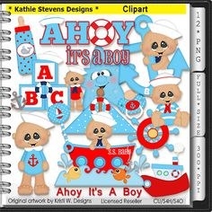 Ahoy It's A Boy Clipart - CU