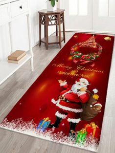 95999e08f71dd Christmas Wreath Santa Claus Print Flannel Antislip Bath Mat - DARK RED W24  INCH   L71