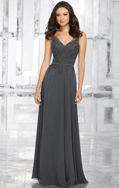 Unique Grey Long Bridesmaid Dress BNNED0006