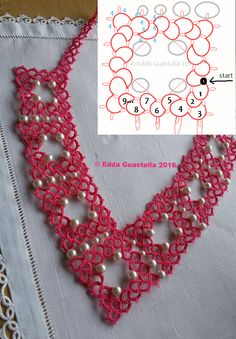 tatted necklace with beads diagram