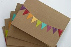 Thank You Card Set of 50 Bunting Flag Rainbow by RainyDayColors, $69.00