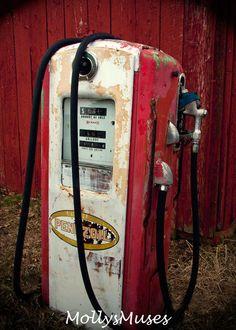 Antique Pennzoil Gas Station Pump Americana Decor Red Rustic fine art photography 5x7 print