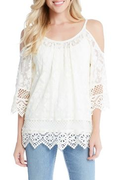 Free shipping and returns on Karen Kane Cold Shoulder Mesh Top at Nordstrom.com. Delicate crochet trim puts a pretty finish on an embroidered, shoulder-baring top made in sheer mesh that lets the cool breezes reach you.