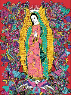 Virgen de Guadalupe for Restaurante Milagros.  A design i made for a very special restaurant of Mexican food in Medellin, Colombia.  This was also part of my Saints Illustrations Personal Project.