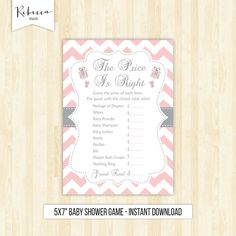 The price is right game baby shower printable games pink baby shower guess the price game baby shower activity pink and grey pink price by RebeccaDesigns22
