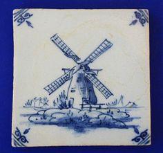 20th c. Dutch Delft Blue tile, windmill, intact, Tichelaar Makkum?, pre 1974 | eBay