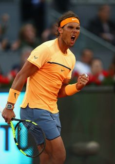 Rafael Nadal drew on his battling qualities on Thursday at the Mutua Madrid Open… Rafael Nadal, Atp Tennis, Davis Cup, Professional Tennis Players, Olympic Gold Medals, Sports Celebrities, Sports Stars, Roger Federer, My Man