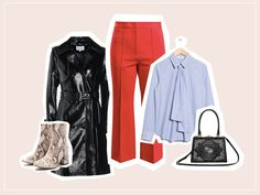 Business-Look mit roter Cropped Pants