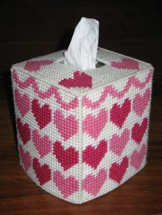 """Valentines Day """"Hearts"""" Tissue Box Holder made with Plastic Canvas"""
