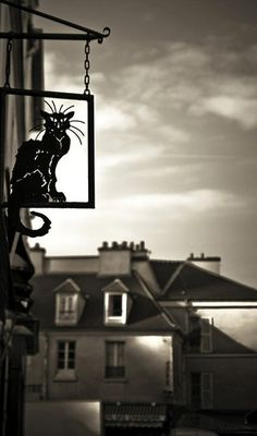 le chat noir greets passersby on Rue du Mont-Cenis - Paris Paris Pictures, Paris Pics, Paris In Spring, Paris Black And White, Cat Signs, Arrondissement, Visual Texture, Paris Love, Tour Eiffel