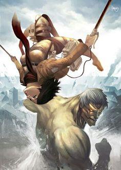 Mikasa and the Armored Titan