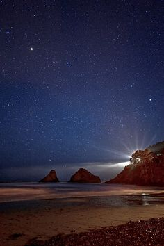 ~~Lighting the Night |  a starry night falls upon the sea stacks at Heceta Head, Oregon by bobshots~~