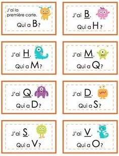 Great for kindergarten! Learn letter names or letter sounds. Available in French. French Alphabet, French Flashcards, French Classroom, Classroom Layout, Classroom Decor, French Language Learning, Foreign Language, Learning English, Learning Spanish