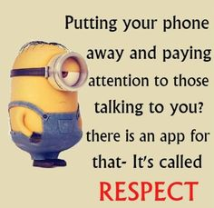 Funny Minions Respect. 。◕‿◕。 See my Despicable Me Minions pins https://www.pinterest.com/search/my_pins/?q=minions