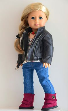 RESERVED for PRIVATE COLLECTOR: American Girl Doll Moto Jacket and Jeans Ensemble. $125.00, via Etsy.