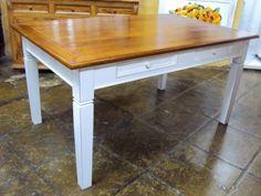 FM-153 - Mesa de jantar, base branco Provençal, tampo em madeira, pés retos com diamante - 1,60,x1,00x0,80h.