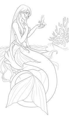Mermaid Outline Drawing Sketch Coloring Page Mermaid Coloring Pages, Colouring Pages, Coloring Sheets, Coloring Books, Coloring Pages For Grown Ups, Adult Coloring Pages, Mermaid Outline, Psychedelic Decor, Mermaid Shell