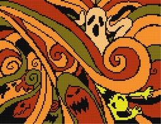 halloween free cross stitch chart-could change the colors in places