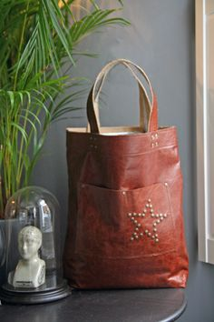 Star Brown Leather Handbag Shopper