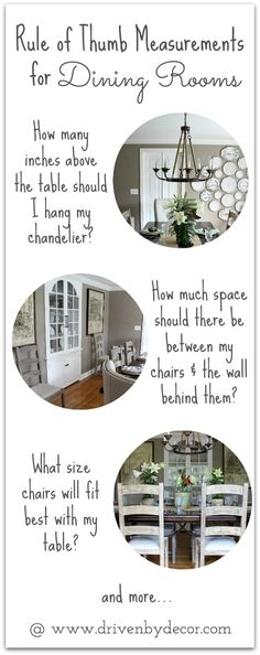 Your Dining Room: Must-Have Tips How high to hang your chandelier and other must-have tips for decorating your dining room. So helpful!How high to hang your chandelier and other must-have tips for decorating your dining room. So helpful! Dining Room Furniture, Dining Room Table, Dining Rooms, Furniture Design, Furniture Hardware, Room Chairs, Driven By Decor, Dining Room Inspiration, Small Dining